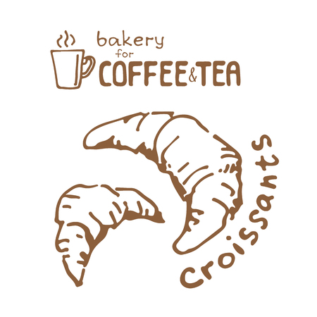 Doodle hand drawn sketch isolated on white background. Fresh bakery for coffee or tea: croissant. Design elements for cafe menu, fliers and chalkboards.