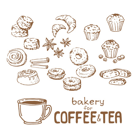 Doodle hand drawn sketch isolated on white background. Fresh bakery for coffee or tea: muffins, scones, croussants, biscotti, bagels, cinnamon beans. Design elements for cafe menu, fliers and chalkboards. Stok Fotoğraf - 121821824