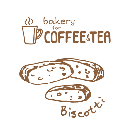 Doodle hand drawn sketch isolated on white background. Fresh bakery for coffee or tea: biscotti. Design elements for cafe menu, fliers and chalkboards.