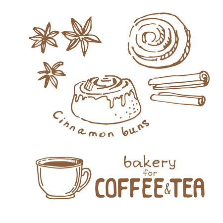 Doodle hand drawn sketch isolated on white background. Fresh bakery for coffee or tea: cinnamon buns. Design elements for cafe menu, fliers and chalkboards. Vettoriali