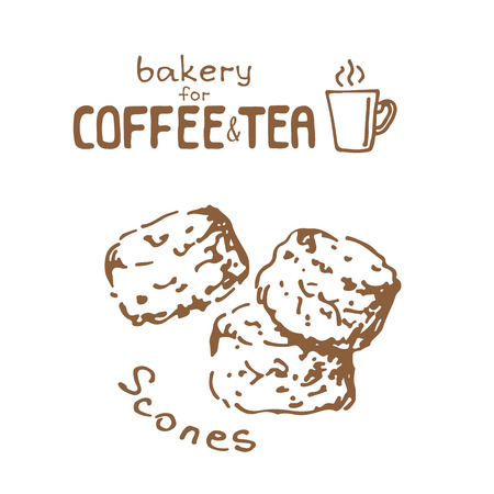 Doodle hand drawn sketch isolated on white background. Fresh bakery for coffee or tea: scones. Design elements for cafe menu, fliers and chalkboards. Çizim