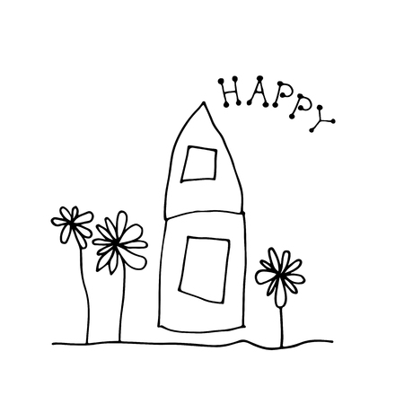 Doodle  and flowers house isolated on white background. Child drawing style. Design elements for textile print, fun greeting cards and kids coloring.
