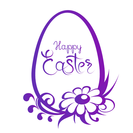 Frame with Easter egg and flowers pattern with lettering isolated on white background. Design elements for greeting cards or flyers. Illustration