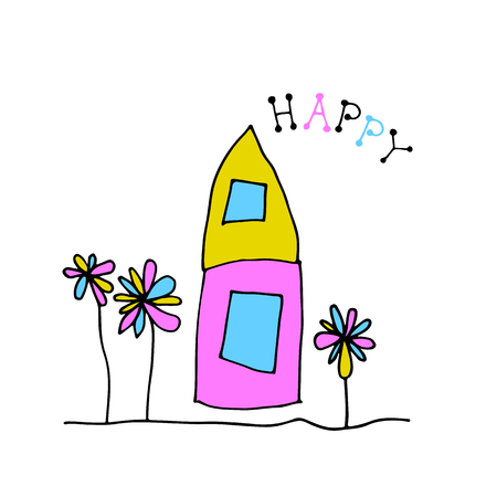 Doodle house and flowers isolated on white background. Child drawing style. Design elements for textile print, fun greeting cards and kids coloring. Ilustração