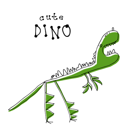 Cute doodle dinosaur isolated on white background. Child drawing style. Design element for textile print, fun greeting cards and kids coloring.