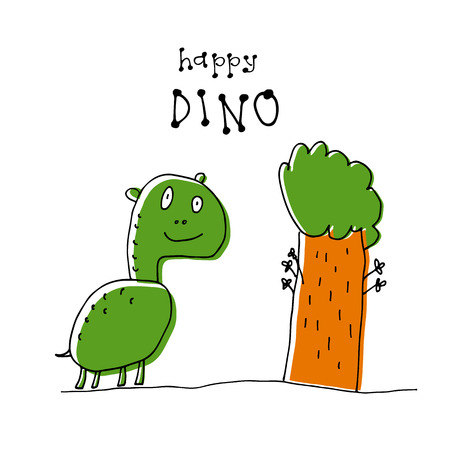 Cute doodle dinosaur isolated on white background. Child drawing style. Design element for textile print, fun greeting cards and kids coloring. Stock fotó - 103678551