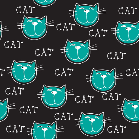 Cute doodle cats seamless pattern. Child drawing style. Design element for textile print and fun greeting cards.