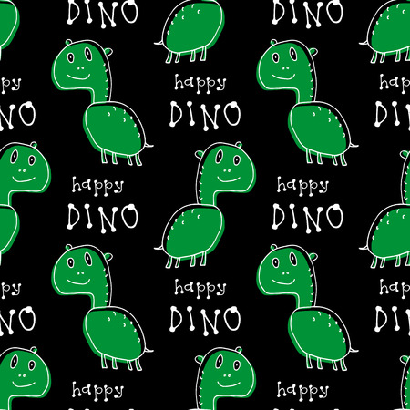 Cute doodle dinosaur seamless pattern. Child drawing style. Design element for textile print and fun greeting cards.