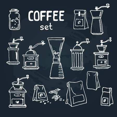 Set of doodle hand drawn sketches isolated on  chalkboard background. Design elements for cafe menu or coffee shop.