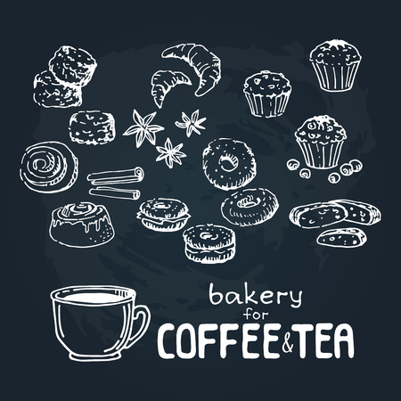 Doodle hand drawn sketch isolated on  chalkboard background. Fresh baker: muffins, scones, croussants, biscotti, bagels, cinnamon beans. Design elements for cafe menu, fliers and chalkboards. Çizim