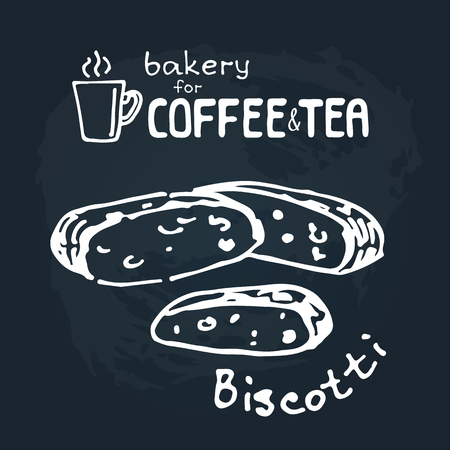 Doodle hand drawn sketch isolated on chalkboard background. Design elements for cafe menu or coffee shop. Fresh bakery: biscotti.