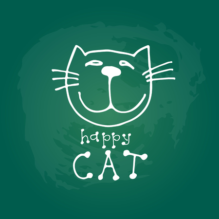Cute doodle cat isolated on green chalkboard background. Child drawing style. Illustration