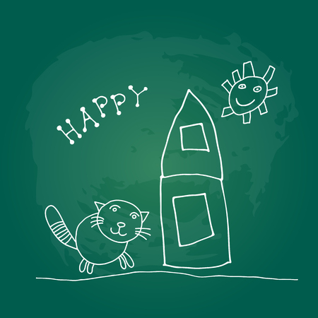 Doodle house and flowers isolated on green chalkboard background. Child drawing style.