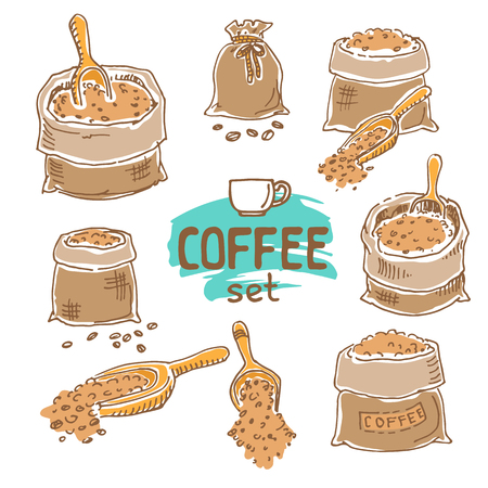 Set of doodle hand drawn sketches, coffee sack and wooden scoop isolated on white background. Design elements for cafe menu, fliers and chalkboards.