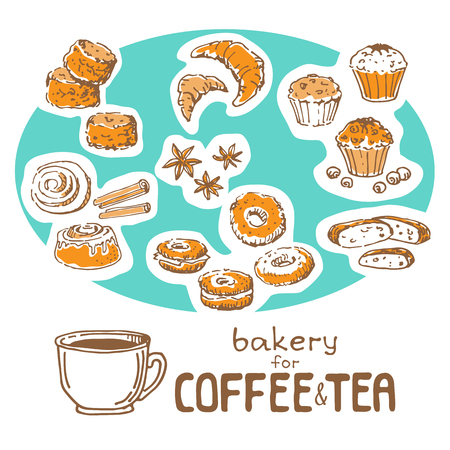 Doodle hand drawn sketch isolated on white background. Fresh bakery for coffee or tea: muffins, scones, croissants, biscotti, bagels, cinnamon beans. Design elements for cafe menu, fliers and chalkboards. Ilustração