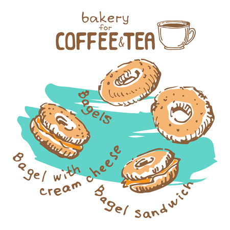 Doodle hand drawn sketch isolated on white background. Fresh bakery for coffee or tea: bagels. Design elements for cafe menu, fliers and chalkboards.