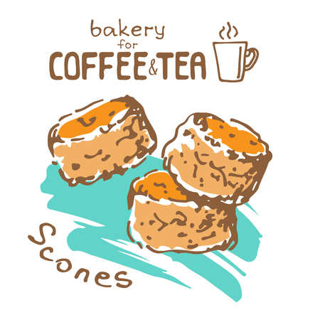 Doodle hand drawn sketch isolated on white background. Fresh bakery for coffee or tea: scones. Design elements for cafe menu, fliers and chalkboards.