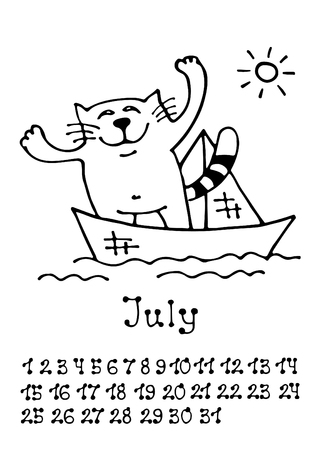 Cute doodle cat isolated on white background. Wall monthly calendar 2018 with numbers. Hand drawing style.
