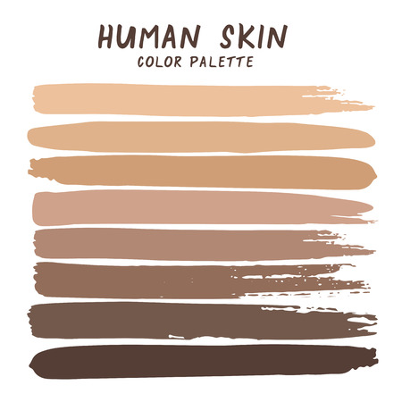 Hand drawn colorful strips isolated on white background. Human skin color palette. Stock Illustratie