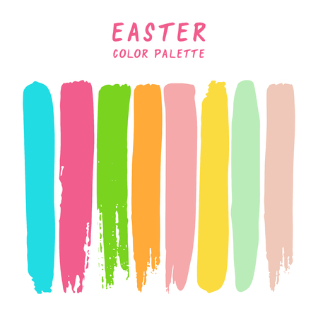Hand drawn colorful strips isolated on white background. Easter color palette.