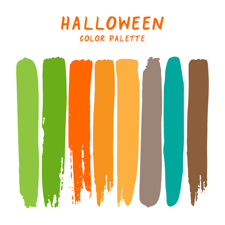 Hand drawn colorful strips isolated on white background. Halloween color palette.