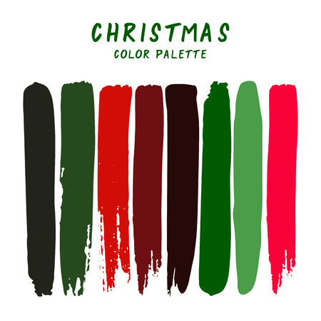 Hand drawn colorful strips isolated on white background. Christmas color palette. Stock Illustratie