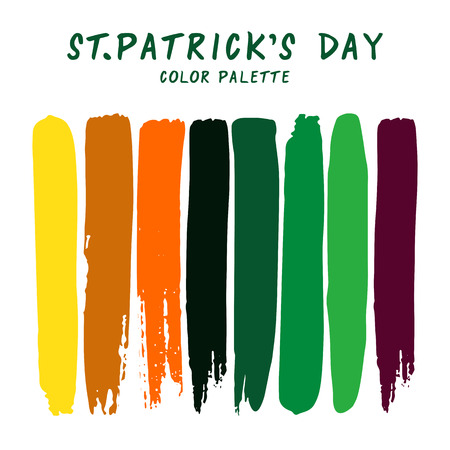 Hand drawn colorful strips isolated on white background. St. Patricks Day color palette.