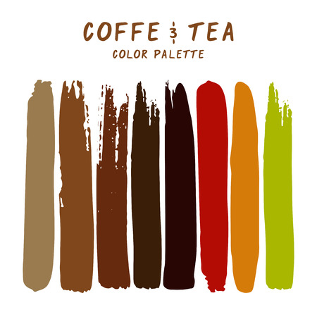 Hand drawn colorful strips isolated on white background. Coffee and tea color palette.