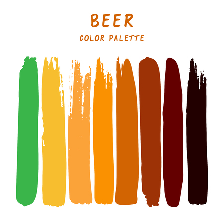 Hand drawn colorful strips isolated on white background. Beer color palette.