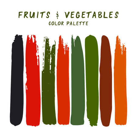 Hand drawn colorful strips isolated on white background. Fruits and vegetables color palette.