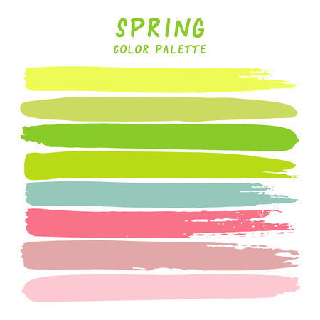 Hand drawn colorful strips isolated on white background. Spring color palette. Stock Illustratie