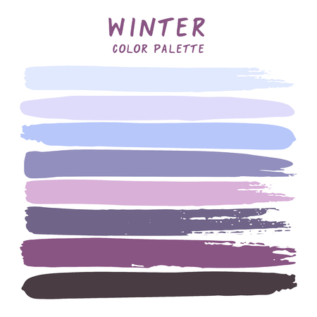 Hand drawn colorful strips isolated on white background. Winter color palette.