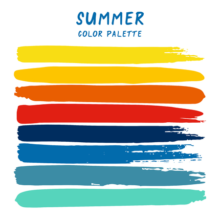 Hand drawn colorful strips isolated on white background. Summer color palette.