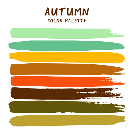 Hand drawn colorful strips isolated on white background. Autumn color palette.