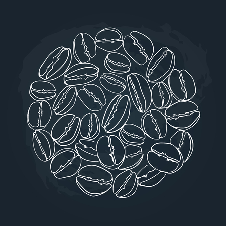 Circle coffee beans frame isolated on chalkboard background. Design element for cafe menu or coffee shops.