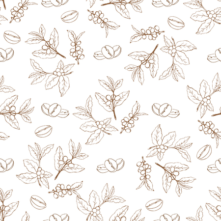 Coffee branches and beans seamless pattern. Design element for cafe menu or wrapping paper. Illustration