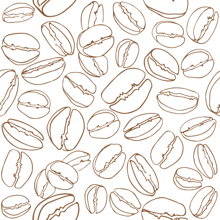 Coffee beans seamless pattern. Design element for cafe menu or wrapping paper.
