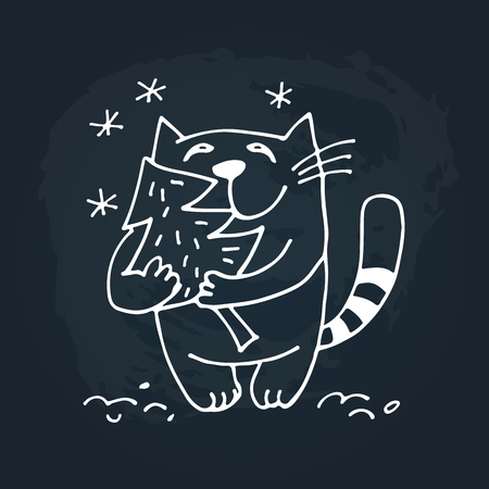 Cute doodle cat isolated on chalkboard background. Child drawing style.