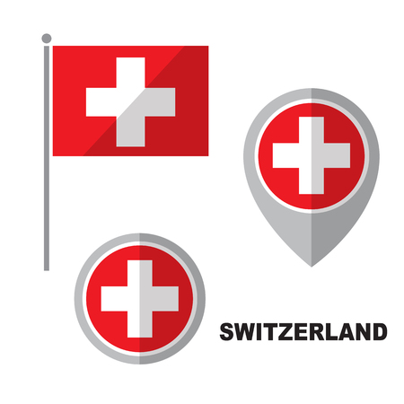 Switzerland flag and map pointer isolated on white background. Swiss Confederation national symbol. Flat design collection.