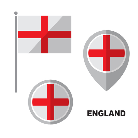 England flag and map pointer isolated on white background. English national symbol. Flat design collection.