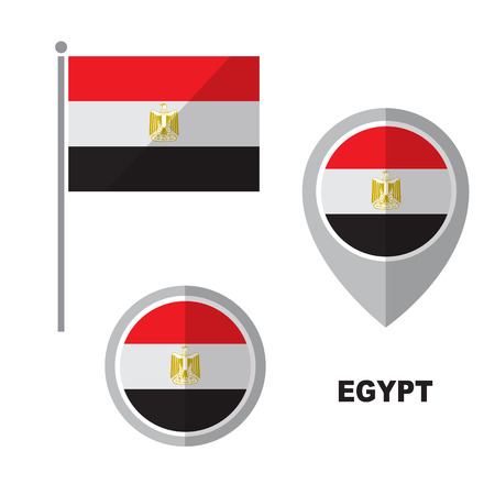 Egypt flag and map pointer isolated on white background. Arab Republic of Egypt national symbol. Flat design collection.