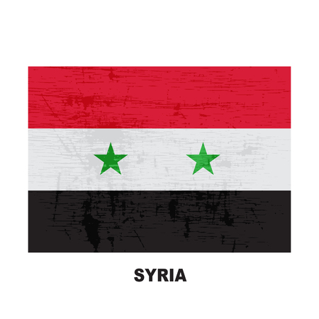 Syria flag isolated on white background. Syrian Arab Republic  national symbol. Vector flat design collection.
