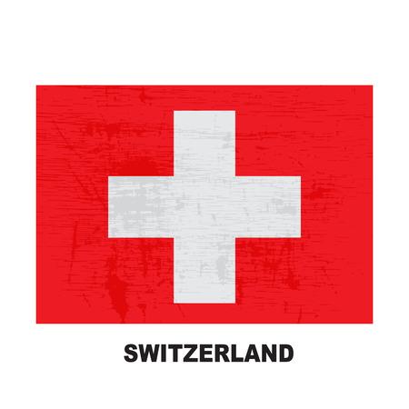 Switzerland flag  isolated on white background. Swiss Confederation national symbol. Flat design collection.