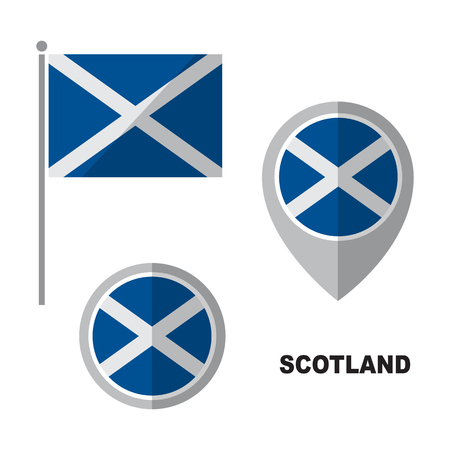 Scotland flag and map pointer isolated on white background. Republic of Venezuela national symbol. Flat design collection.