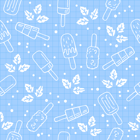Ice cream seamless pattern. Design element for cafe decoration, textile prints or gift wrap. Illustration