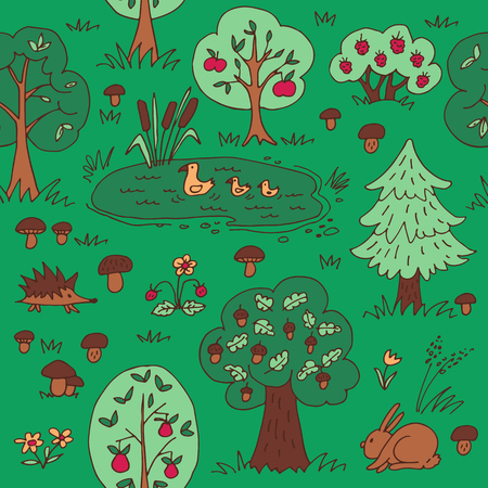 Green summer forest. Seamless pattern with wild animals and trees. Hand drawn style. Design element for textile print or gift wrap.