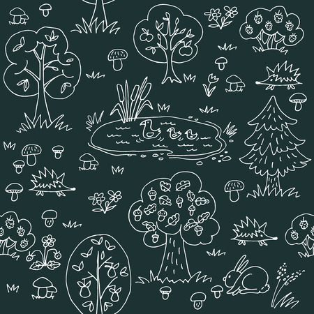 Summer forest. Seamless pattern with wild animals and trees. Hand drawn style. Design element for textile print or gift wrap. Archivio Fotografico - 114777026