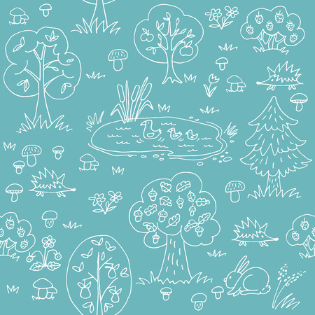 Summer forest. Seamless pattern with wild animals and trees. Hand drawn style. Design element for textile print or gift wrap.
