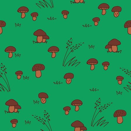 Green summer forest. Seamless pattern with mushrums and grass. Hand drawn style. Design element for textile print or gift wrap.