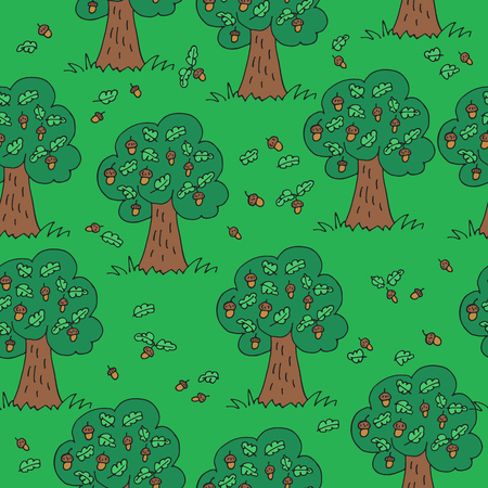 Green summer grove. Seamless pattern with acorns and trees. Hand drawn style. Design element for textile print or gift wrap.